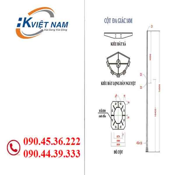 cột đèn đa giác 14m